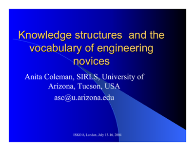 Knowledge structures and the vocabulary of engineering