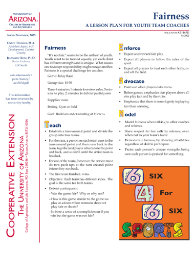 Fairness: A Lesson Plan for Youth Team Coaches [6-4-6: A