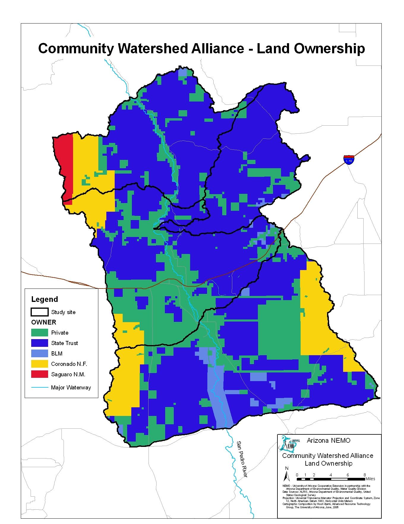 Map Of Arizona Land Ownership.Nemo Watershed Based Plan Middle And Lower San Pedro Watershed