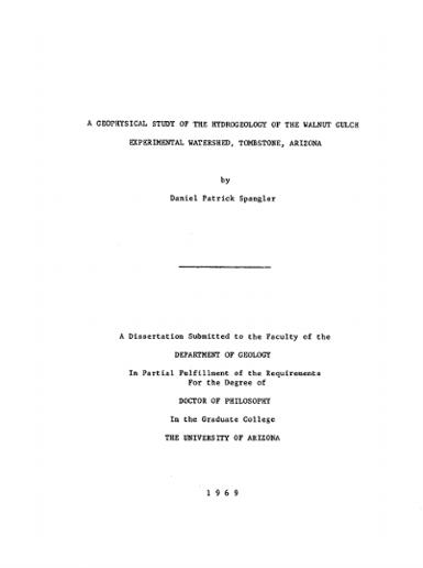 A geophysical study of the hydrogeology of the Walnut Gulch