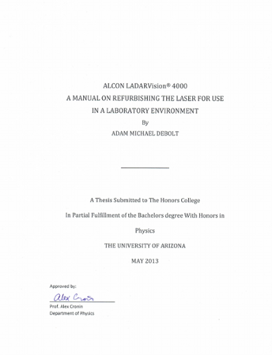 Alcon LADARVision® 4000: A Manual on Refurbishing the Laser