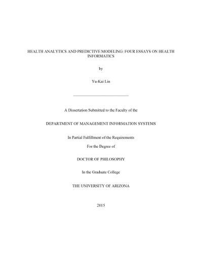 health analytics and predictive modeling four essays on health  thumbnail