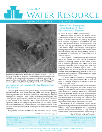 Arizona Water Resource Vol  20 No  2 (Spring 2012)