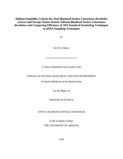 Habitat Suitability Criteria for Zuni Bluehead Sucker Catostomus