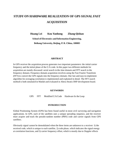 study on hardware realization of gps signal fast acquisition