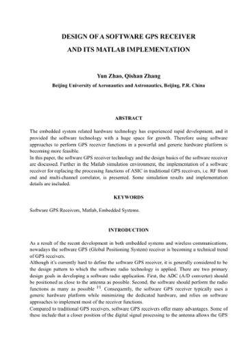 design of a software gps receiver and its matlab implementation