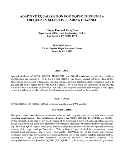 ADAPTIVE EQUALIZATION FOR OQPSK THROUGH A FREQUENCY