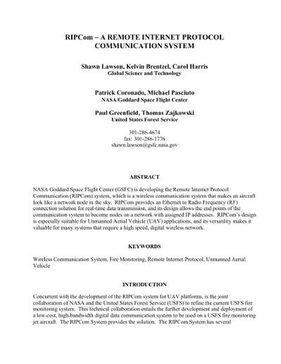 RIPCom – A REMOTE INTERNET PROTOCOL COMMUNICATION SYSTEM
