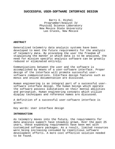 Successful User Software Interface Design