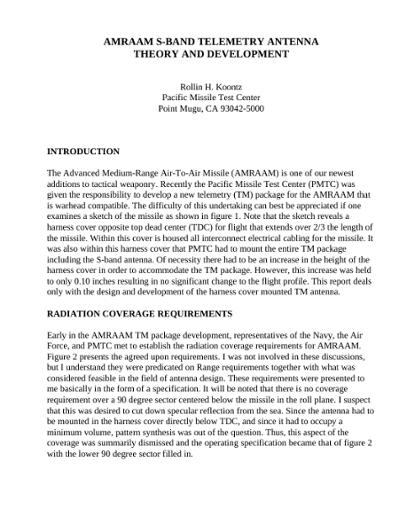 AMRAAM S-Band Telemetry Antenna Theory and Development