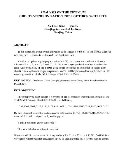 Analysis On the Optimum Group Synchronization Code of TIROS