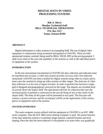 Digital Video Processing Pdf
