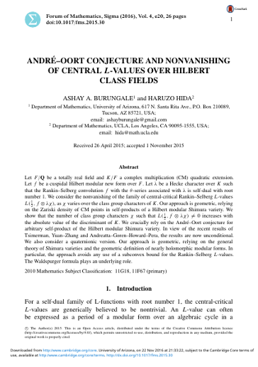 ANDR ´E–OORT CONJECTURE AND NONVANISHING OF CENTRAL L-VALUES OVER