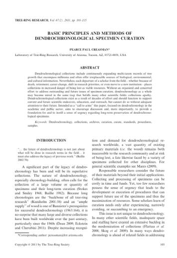 methods of dendrochronology pdf