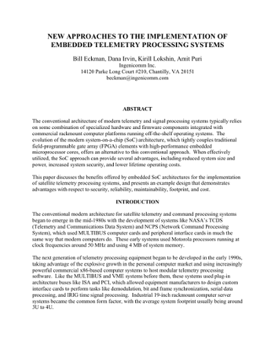 New Approaches To The Implementation Of Embedded Telemetry Processing Systems