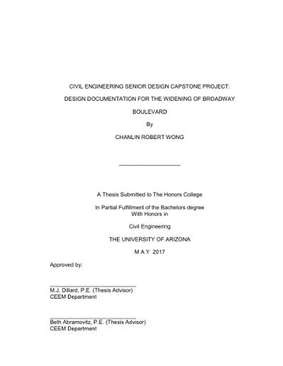 Civil Engineering Senior Design Capstone Project Design Documentation For The Widening Of Broadway Boulevard