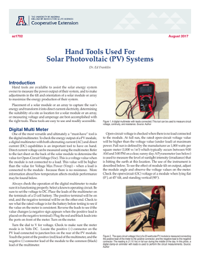 Hand Tools Used for Solar Photovoltaic (PV) Systems