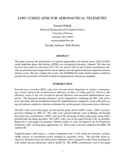 LDPC CODED APSK FOR AERONAUTICAL TELEMETRY