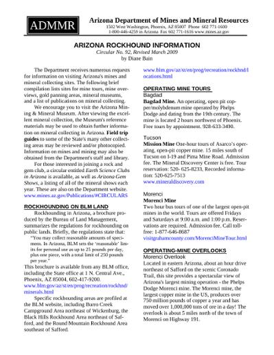 Arizona Rockhound Information