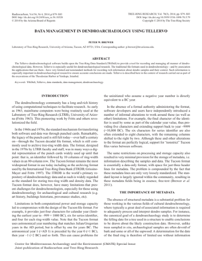 Data management in dendroarchaeology using Tellervo