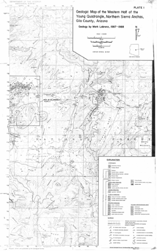 Map Of Young Arizona.Geologic Map Of The Western Half Of The Young Quadrangle Northern