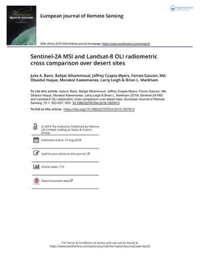 Sentinel-2A MSI and Landsat-8 OLI radiometric cross