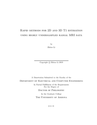 Rapid Methods for 2D and 3D T1 Estimation using Highly