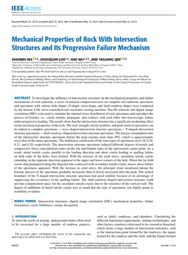 Mechanical Properties of Rock With Intersection Structures